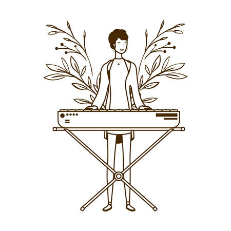 silhouette of woman with piano keyboard on white background vector illustration design
