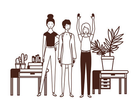 silhouette of women with bookshelf of wooden and books vector illustration design Ilustrace