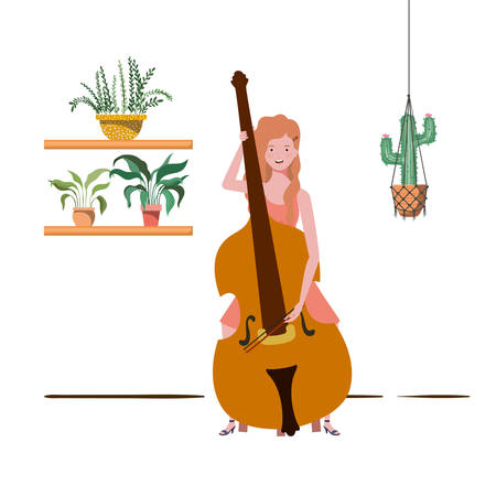 woman with fiddle and houseplants on macrame hangers of background vector illustration design 向量圖像