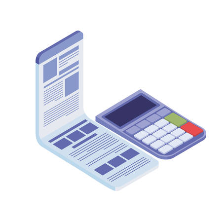calculator with sheet of paper on white background vector illustration design Ilustrace