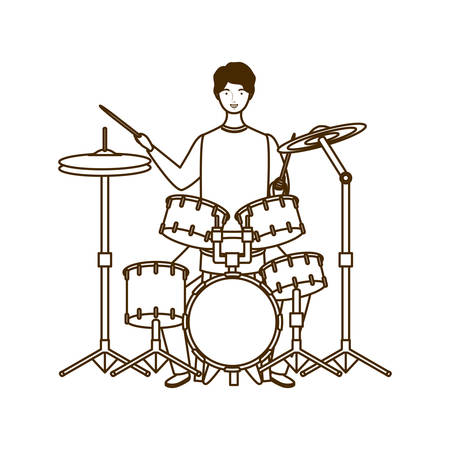 silhouette of man with drum kit on white background vector illustration design
