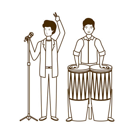 silhouette of men with musicals instruments on white background vector illustration design