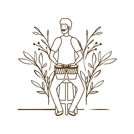 silhouette of man with congas and branches and leaves in the background vector illustration design Çizim