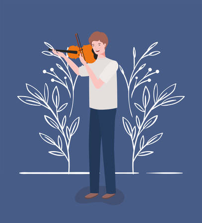 woman playing fiddle instrument character vector illustration design Иллюстрация