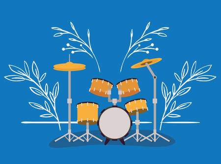 battery drums musical instrument icon vector illustration design Çizim