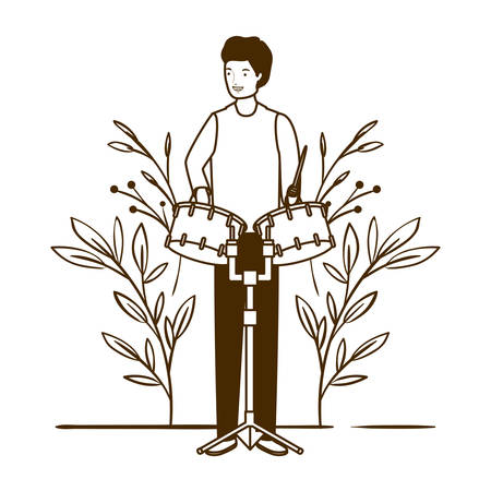 silhouette of man with timpani and branches and leaves in the background vector illustration design