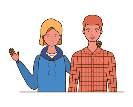 couple of people smiling on white background vector illustration design Standard-Bild - 129930811