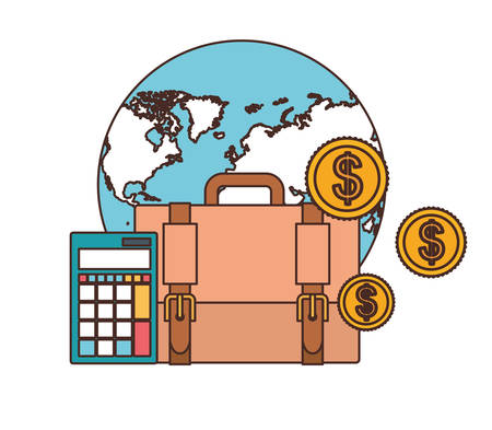 set of icons with suitcase of businessman in white background vector illustration design Çizim