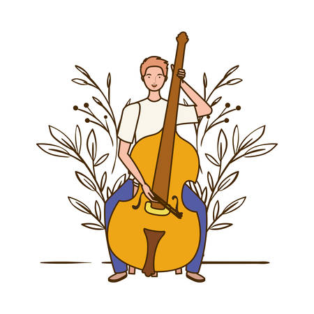 man with fiddle and branches and leaves in the background vector illustration design Illustration