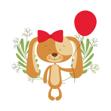 cute puppy with helium balloons vector illustration design