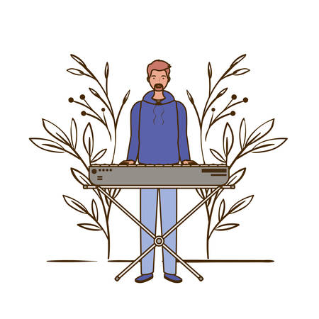 man with piano keyboard and branches and leaves in the background vector illustration design Illustration