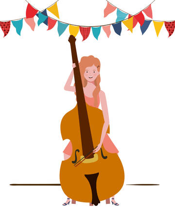 young woman with fiddle on white background vector illustration design Фото со стока - 129831193