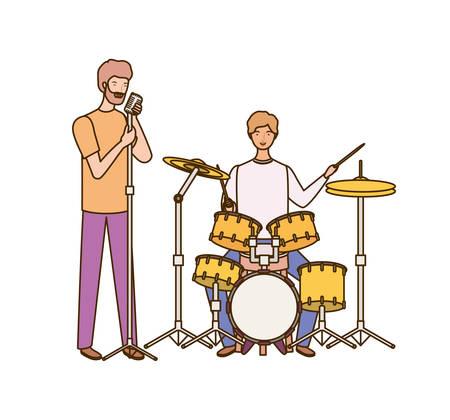 men with musicals instruments on white background vector illustration design Ilustração
