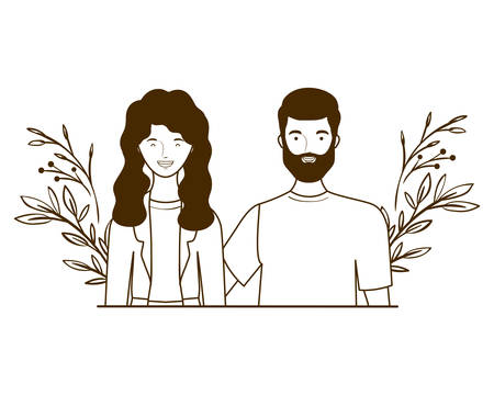 couple of people with landscape of branches and leaves of background vector illustration design