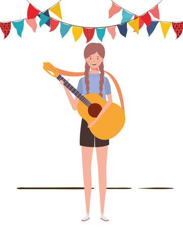 women with acoustic guitar on white background vector illustration design Stockfoto - 129931042