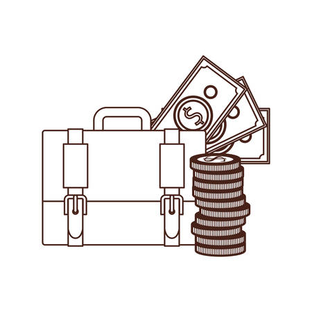 silhouette of suitcase of businessman with money on white background vector illustration design