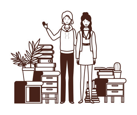 silhouette of women with bookshelf of wooden and books vector illustration design Фото со стока - 129831196