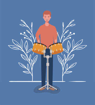 woman playing timpani drums character vector illustration design