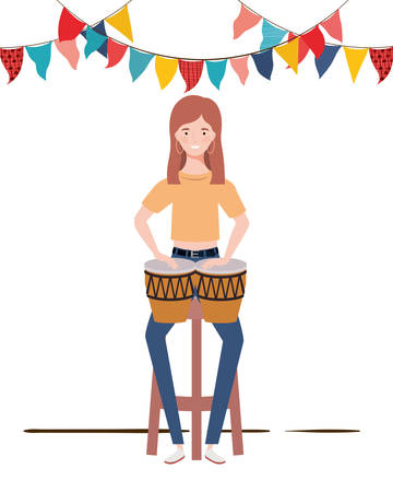 young woman with congas on white background vector illustration design