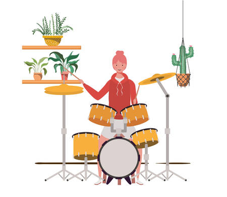 woman with drum kit and houseplants on macrame hangers of background vector illustration design