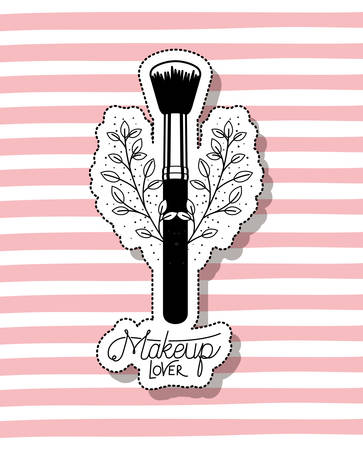 make up brush accessory in floral frame vector illustration design Ilustração