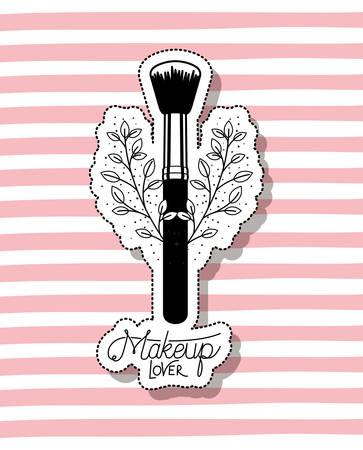 make up brush accessory in floral frame vector illustration design Ilustração