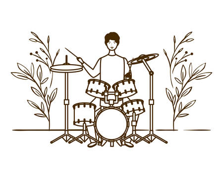 silhouette of man with drum kit and branches and leaves in the background vector illustration design