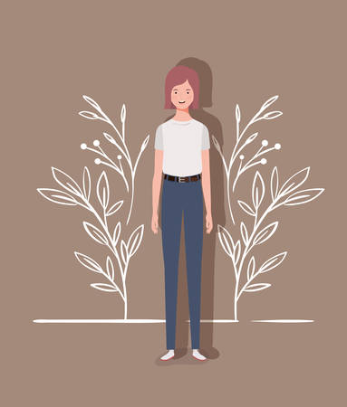 young and beautiful girl character vector illustration design Çizim