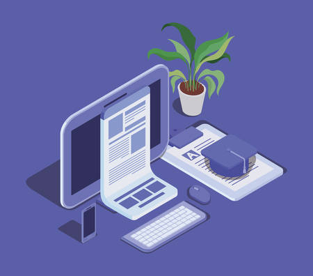 online education technology with tablet vector illustration design 向量圖像