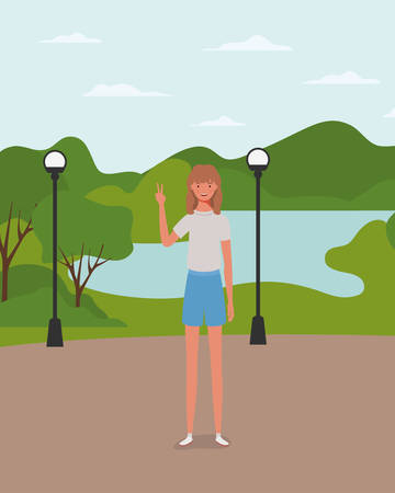 young and beautiful girl in the park vector illustration design Stock fotó - 129831056
