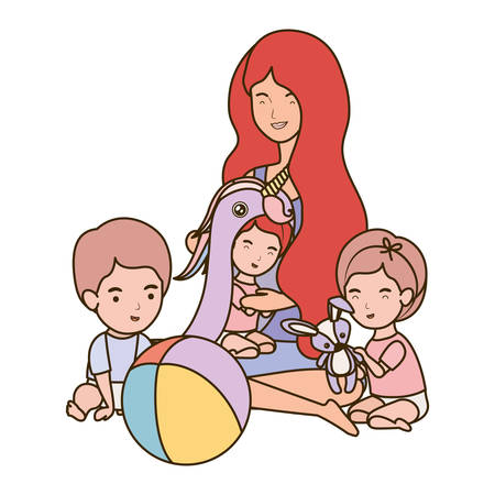 cute pregnancy mother with little kids characters vector illustration design Çizim