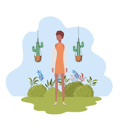 woman with macrame hangers and background landscape vector illustration design Stock Illustratie