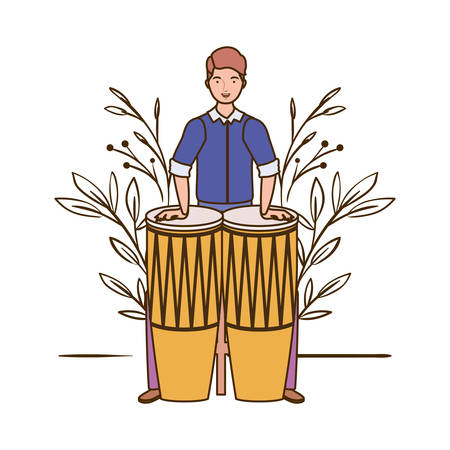 man with congas and branches and leaves in the background vector illustration design