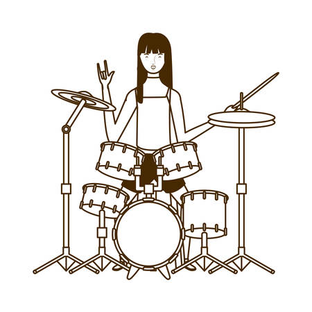 silhouette of woman with drum kit on white background vector illustration design Stockfoto - 129931124