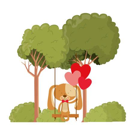 cute bear with helium balloons vector illustration design