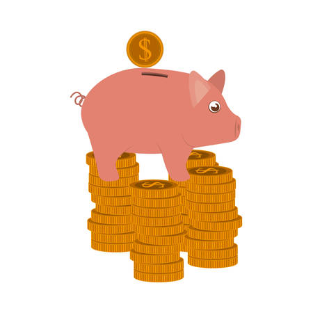 money savings and pig on white background vector illustration design