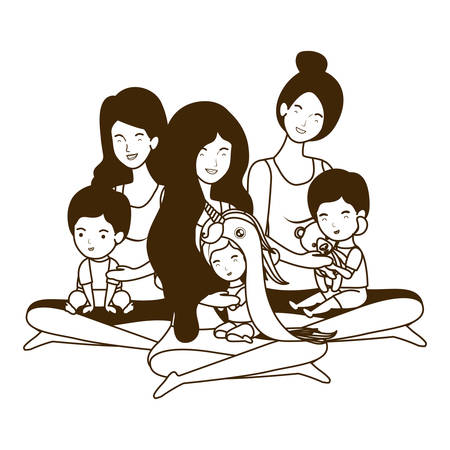 cute pregnancy mothers with little babies characters vector illustration design Çizim