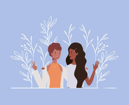 young and beautiful afro girls couple characters vector illustration design