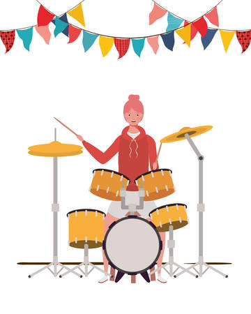 young woman with drum kit on white background vector illustration design