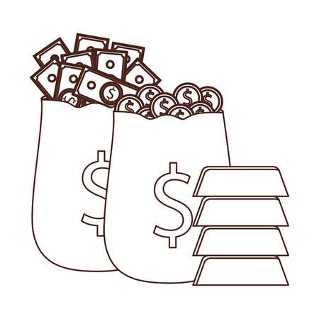 silhouette of money saving and money bag on white background vector illustration design