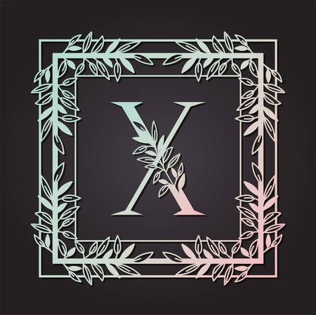 letter X in square frame with leafs vector illustration design