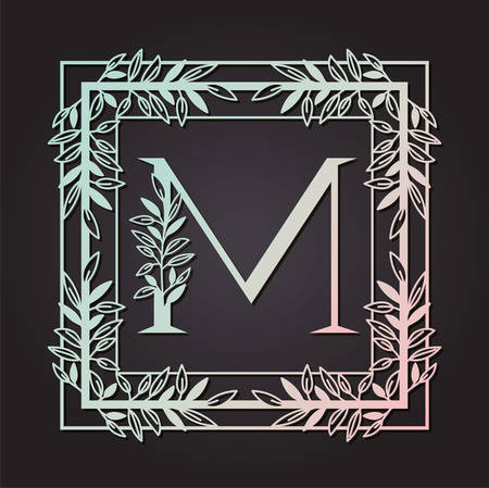 letter M in square frame with leafs vector illustration design