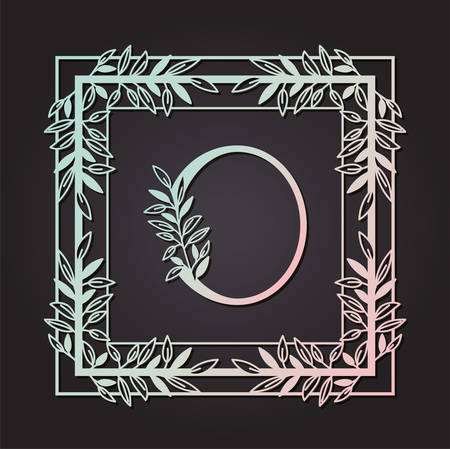 letter O in square frame with leafs vector illustration design