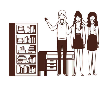 silhouette of women with bookshelf of wooden and books vector illustration design Çizim