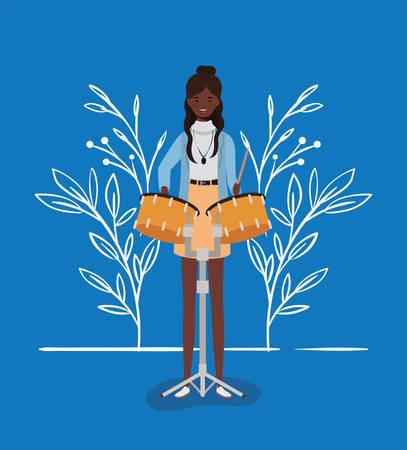 afro woman playing timpani character vector illustration design Иллюстрация