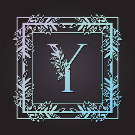 letter Y in square frame with leafs vector illustration design