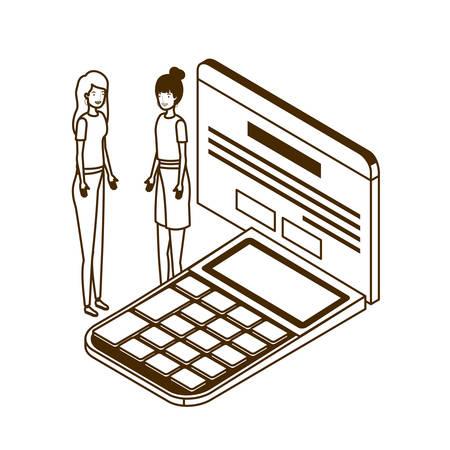 women with calculator in white background vector illustration design Illusztráció