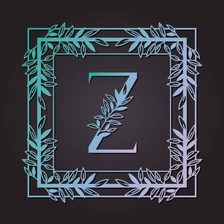 letter Z in square frame with leafs vector illustration design