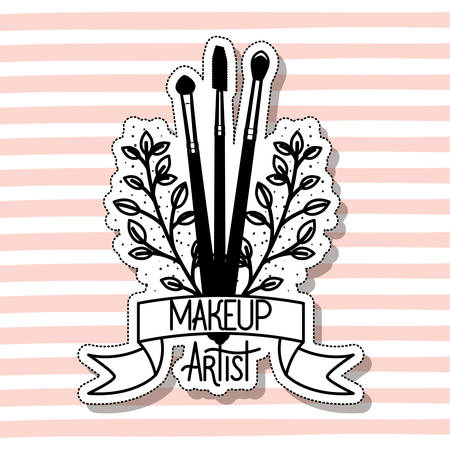 make up brushes accessories in card vector illustration design Çizim