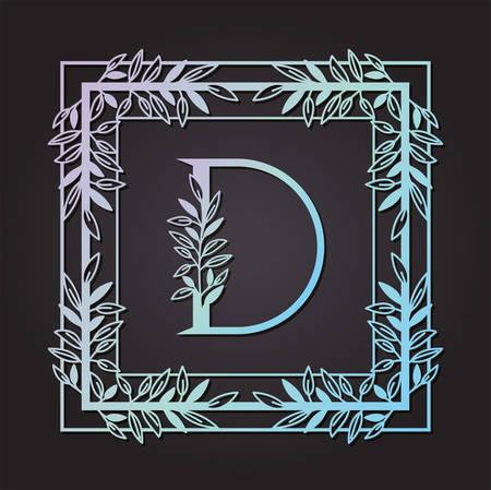 letter D in square frame with leafs vector illustration design Illusztráció
